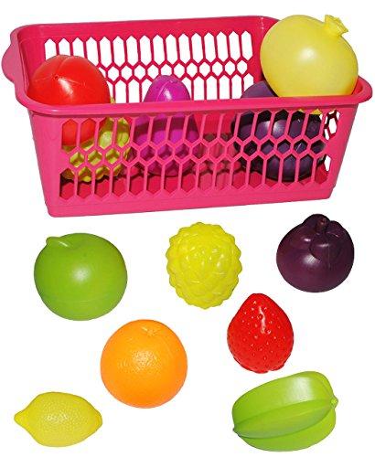 alles-meine.de GmbH 13 TLG. Set _ Einkaufskorb gefüllt - mit großen Früchten / Gemüse - aus Kunststoff - für Kinder / Früchteset Kaufmannsladen Zubehör Kaufladen - Supermarkt - P..