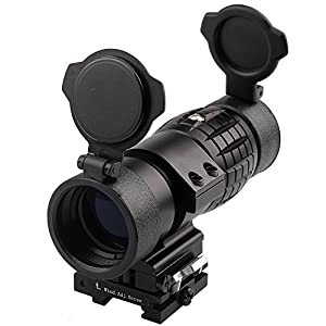 Magnifier Scope 3XMagnification for Red Dot Sight Flip Up To Side Optic Lens Covers Picatinny Rail by KnightTec