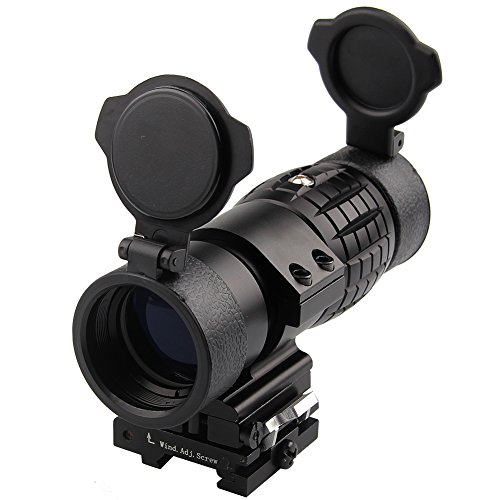 Magnifier Scope 3XMagnification per Red Dot Sight Flip Up to Side Copriobiettivo ottico Picatinny Rail