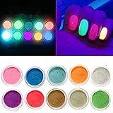 Serios 10boxes Luminous Nail Glitter Powder Fluorescent Neon Phosphor Powder Dust, Glow in