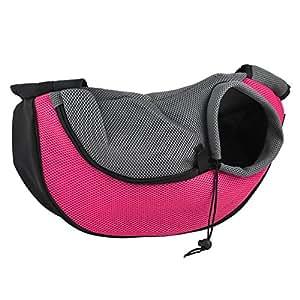 Tera Sac de transport bandoulière 48*12*20cm pour petit et moyen chien/chat (Rose)
