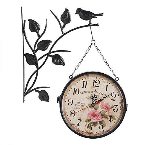 Orologio da Parete Muto Bifacciale Nostalgie Orologio da Muro Rurale in Ferro Muto Rurale Europeo Bird Orologio da Parete Creativo Classico di Stile Europeo Monocromatico (NERO)