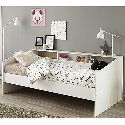 *Funktionsbett 90*200 cm weiß Regalwand Kinderbett Jugendbett Bettliege Bett Jugendzimmer Kinderzimmer Gästezimmer Tagesbett*