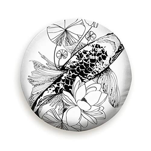 Huabuqi Koi Fisch Zeichnung Vektor Tiere Japan Cover mit elastischem Saum-Durable Design hält Schmutz, Regen und Sonne von Ihrem Reserverad 14 Zoll entfernt