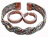 Triple Magnetic Therapy Health Pack - Bangle with 2 Rings! Delicately Handcrafted and Superbly Finished - in the UK! 17M Copper, Brass, Alluminium Braided Wrist Bracelet / Bangle.