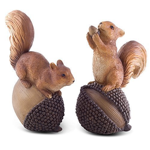Acorn' et 'Conker' Écureuils Roux Décorations de Jardin.