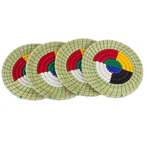 Novica CH 'UM Zyklen '(4er Set) Baumwolle und natürlichen Fasern Untersetzer