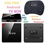 xnano X96Pro 1g RAM 8G ROM Android TV Box Amlogic S905X Quad Core Set-Top-Box Android 6.0OS Bluetooth 4.04K 3D SMART Media Player + i8Mini Wireless Tastatur