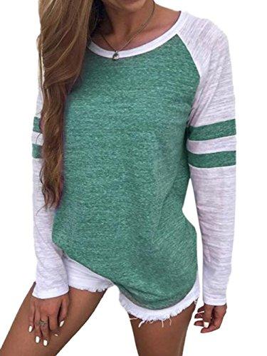 Famulily Damen Streifen Langarmshirt Tops Elegant Lose Baseball T-Shirt Sweatshirt Bluse (L,Green)