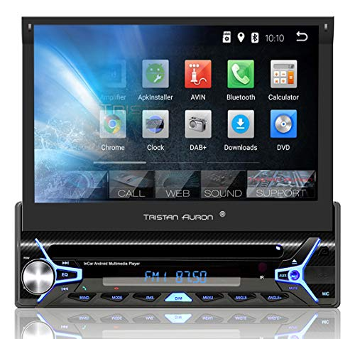 Tristan Auron BT1D7022A Autoradio mit Android 8.1, 7'' Touchscreen Bildschirm, GPS Navigation, Bluetooth Freisprecheinrichtung, Quad Core Prozessor, Mirrorlink, USB, SD, OBD 2, DAB+ I 1 DIN (Android Touchscreen Autoradio)
