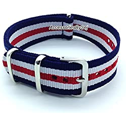 AccessoriesBySej ® TM - G10 NATO MOD NYLON WATCH STRAP - 35 Different Styles & Sizes - (18MM BLUE/WHITE/RED 5S) - Presented with a FREE Luxurious AccessoriesBySej ® TM Velvet Gift Pouch/Bag