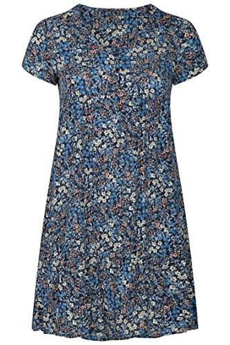PAPRIKA Damen große Größen Kleid mit Liberty-Print V-Ausschnitt Kurze Ärmel -