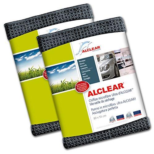 ALCLEAR 820901M Panno in Microfibra Ultra Maxi, Asciugatura Perfetta, Dimensioni: 80 x 55 cm, Grigio, Set di Due