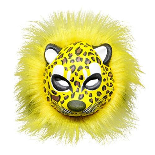 Amos Spaß Halloween Plüsch Tiger Maske Cosplay Maskerade Tier Gesichtsmaske Novely Party Dress Up Kostüm Zubehör Foto Requisiten (Leopard)