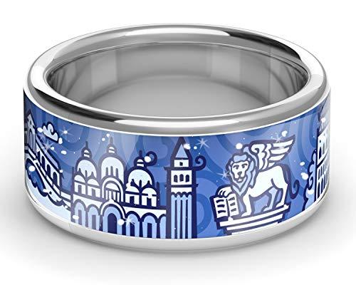 ZEBRA Venedig Ring Silber (Navy Blue, 54 (17.2)) -