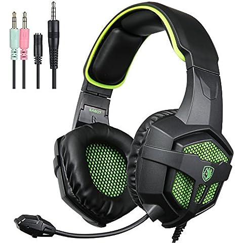 2016Sades sa-807revolución auriculares para juegos multiplataforma,–Auriculares de diadema con micrófono para PC portátil Mac ipad ipod Nuevo Xbox One PS4(negro y verde)