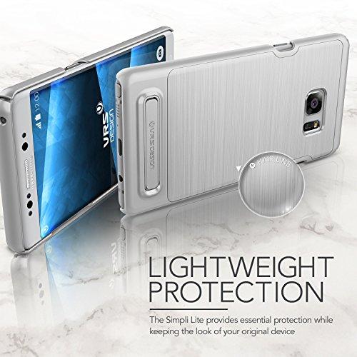 Galaxy Note 7Funda, VRS diseño [Simpli Lite satén de] [plata]–[bajo perfil] [Slim Fit] [función atril] para Samsung Note 7