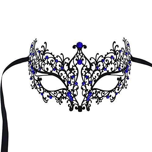RXBC2011 Maske Sexy Spitze Augenmaske Venezianische Metal Halloween Karneval Party Fest mit Blau Rhinestein