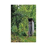 Liumiang Bandiera Eco-Friendly Manual Custom Garden Flag Demonstration Flag Game Flag,Outhouse,Old Ancient Cottage Outhouse in a Spring Mountian Forest Woods Image,Fern Green And Browneco d¨¦Cor
