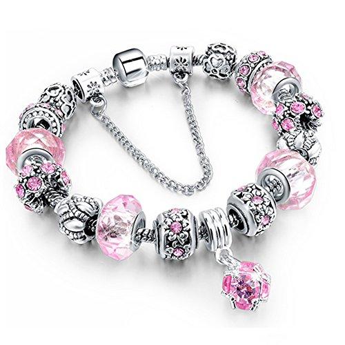 Bracciale donna e ragazza bead chain con bead placcato argento con zirconi - componibile, misura regolabile, compatibile pandora - massima brillantezza, alta qualità (rosa)