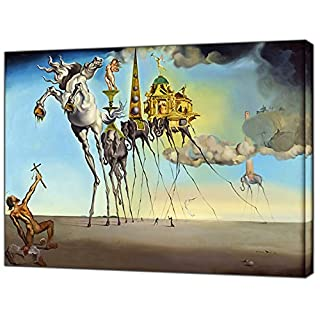 The Temptation of ST Anthony by Salvador DALI Reprint ON Wood Canvas Picture Wall Art Home Decoration 20'' x 16 inch -38mm Depth