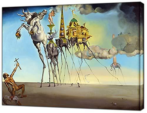 Die Versuchung des Heiligen Anthony von Salvador Dali Holz auf Leinwand Kunstdruck Home Dekoration, 30 x 24 inch(76 x 60 cm)-18mm depth -
