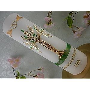 Hochzeitskerze Traukerze Lebensbaum grün gold 250/70 mm inkl. Beschriftung