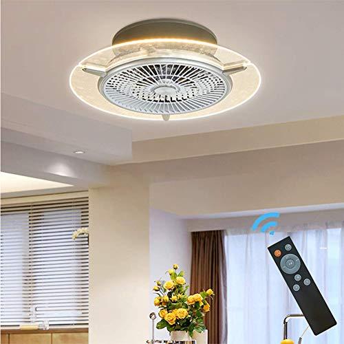 MEMORY Deckenventilator LED Deckenlampe, LED moderner Ventilator mit Fernbedienung, Deckenventilator Schlafzimmerlampe Kinderzimmer Wohnzimmer Beleuchtung 56cm (ohne Glühbirnen) - Low-profile-speicher-kit