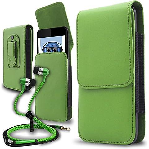 iTALKonline Samsung T509 Verde PREMIUM PU pelle verticale esecutivo laterale della cassa del sacchetto per armi della copertura con attacco cintura Clip e chiusura magnetica