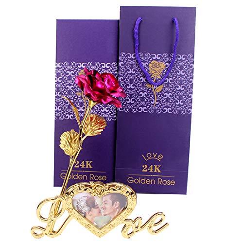 Chiguo fiore di rosa placcato oro 24 k aggiungi cornici foto, creativo romantic fiore il miglior regalo di lusso, regalo ideale per san valentino, festa della mamma, anniversario, matrimonio