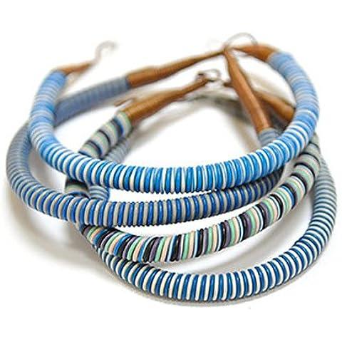 Fantastik - Pulsera reciclada de hilo telefónico color : tono azulado