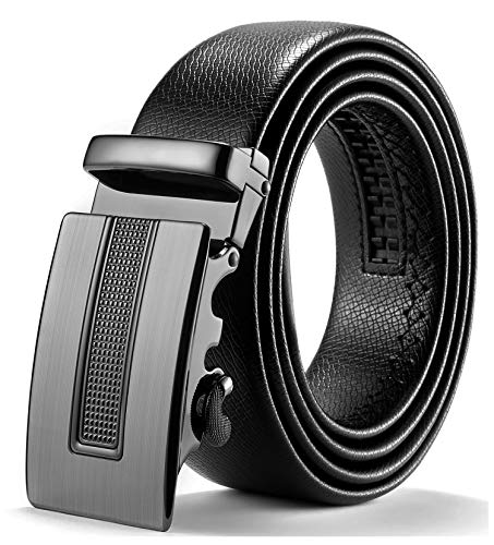 ITIEZY Herren Gürtel Ratsche Automatik Gürtel für Männer 35mm Breit Ledergürtel, Schwarz 125, Länge: Bis zu 49,21 Inches (125cm)