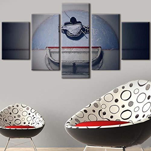 HNDRKJ Tableau Wandkunstwerk Bilder Leinwand Moderne Hd Gedruckt 5 Teilig Eishockey Torwart Dekoration Gemälde Modulare Poster
