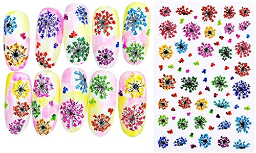 1 Blatt Rot, Gelb, Grün, Blau, Blumen, Queen Anne ' s Lace 3d Nail Art Selbstklebende Abziehbilder Aufkleber-Applique-Set DIY-Resin Scrapbooking Design -