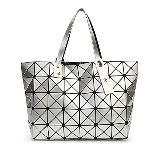 Strawberryer Sacs à bandoulière en cuir femmes Sacs à main géométriques Pliage en sac fourre-tout,Silver-43*28*10.6cm