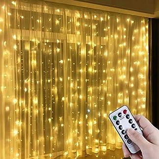 Anpro Luz Cadena Luz de Cortina USB, con 300 Bombillas LED, 8 Modos, Blanca Cálida, 3×3 m