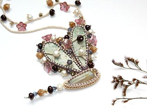 Libelle wulstige Halskette Insekt halskette Handgemachte Schmuck sachen Charme stickerei Schmucksachen gestickter Perlen Edelstein Perlenweben bestickte Sicken Perlstickerei Geschenk für Frauengeschenk für ihr Valentinsstag geschenk (Gestickter Perle)