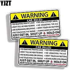 YJZT 2X 10.2CM*5.7CM Car Safety Warning Rules Decal PVC Car Sticker 12-0585