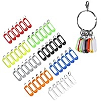 Caydo 48 Pieces Colored Plastic Key Fobs Luggage ID Tags Labels with Split Ring Keyring and Retro Keychain