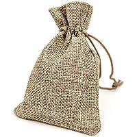 RUBY - 50 Bolsas de arpillera con cordón 11,5 x 8,5cm, Bolsitas de Tela, Bolsas Yute para Joyas o regalos (Natural)