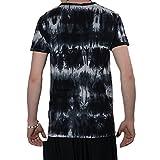 Kunst und Magie Buntes Sure 70er Retro T-Shirt Buddha IM Hippie Batik Look, Farbe:Black/Schwarz, Größe:L