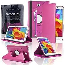 SAVFY - Samsung Galaxy Tab 4 7.0 T230/T231 Funda Cuero Entorno Gira 360° Case Cascara + Protector de Pantalla + Lápiz óptico Para Samsung Galaxy Tab 4 7.0 (Rosado)