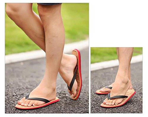 ALUK- Sandales d'été - Pantoufles d'hommes avec l'Europe et les États-Unis Tendance de chaussures de plage ( Couleur : Rouge , taille : 44 ) Rouge