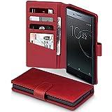 Xperia XZ Premium Hülle, Terrapin [ECHT LEDER] Brieftasche Case Hülle mit Standfunktion Kartenfächer und Bargeld für Sony Xperia XZ Premium Tasche - Rot