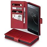 Coque Xperia XZ Premium, Terrapin Étui Housse en Cuir Véritable avec La Fonction Stand pour Sony Xperia XZ Premium Étui - Rouge
