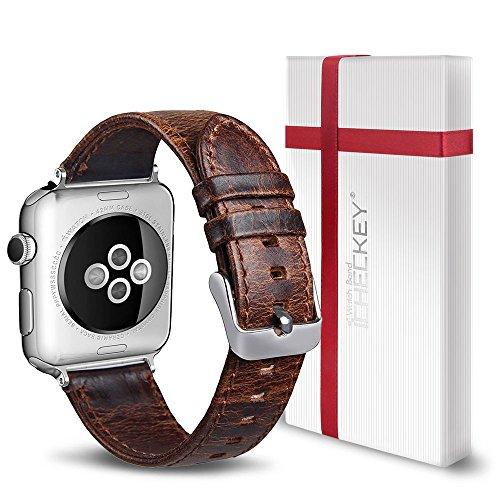 Ersatz Armband Kompatibel für iWatch 38mm - ICHECKEY Leder Uhrenarmband iWatch Klassische Mentallschnalle Ersatzarmband Kompatibel für Alle 38mm iWatch Serie 1/2 / 3, Sport, Edition, Nike+ -