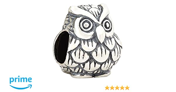 Wise Owl 925 Sterling Silver Charms Graduation Bead for Snake Chain Bracelets By Sandcastle Charm Mother's Day Gifts Jewellery