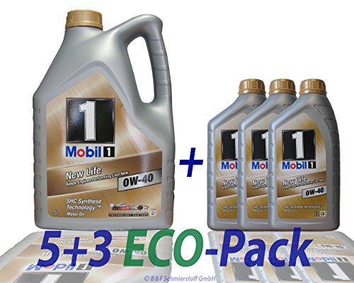 Mobil 1 New Life 0W-40-Olio motore completamente sintetico, 8 litri, (1x5 lt + 3x1 lt)