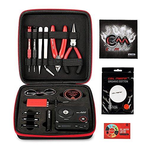 Coil Master DIY Kit V3 mit Neuesten Coil Jig (V4) / 521 Registerkarte Mini Ohm Leser / Pinzette / Bio Baumwolle / Heat Resistant Draht 100 % Authentische Kit Portable Coil Winding Werkzeugsatz