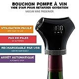 CLIMADIFF EVACO2 Pompe à air Intelligente + Deux Bouchons-Coffret Conservation Arrêt Automatique-Rechargeable par USB-Conservez Le vin de Vos Bouteilles entamées